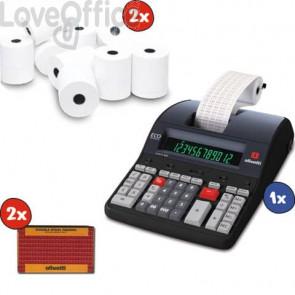 Kit 1x Calcolatrice scrivente Logos 902 + 2x Nastro nero-rosso + 2x Blister 10 Rotoli calcolatrice