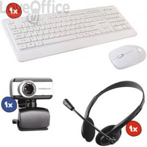 Kit 1x Webcam M-MEA250+ 1x Set Mouse/tastiera Wireless Combo NX971 + 1x Cuffie con microfono