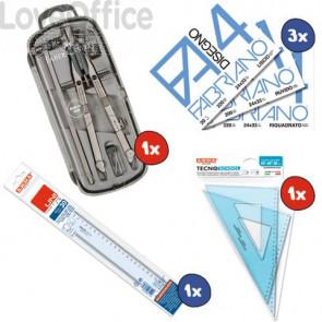 Kit 1x Balaustrone Tech + 3x Album Fabriano F4 + 1x Coppia squadre 45°-60° + 1x Riga 30 cm