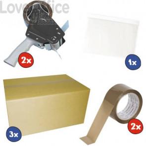 Kit 2x conf. 6 pz Nastro imballo + 1x cf. 100 Buste autoadesive + 2x Dispenser + 3x Scatole 2 onde