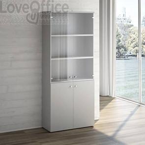Mobile Libreria LineKit grigio tramato - Mobile ufficio con ante vetro+ legno - 4 ripiani - 90x40,1x212,5 cm