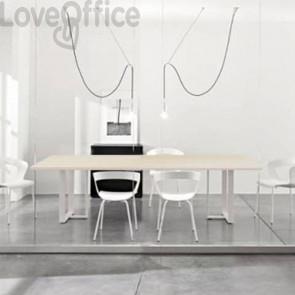 Tavolo riunione meeting LineKit Swing Twist 240x120xH.73 cm - piano rovere - struttura bianco