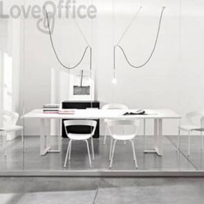 Tavolo riunione meeting LineKit Swing Twist 240x120xH.73 cm - piano bianco - struttura bianco