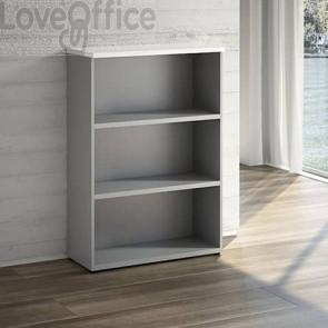 Mobile libreria a giorno LineKit - Top trama bianco - 2 ripiani - 90x40,1x129,3 cm