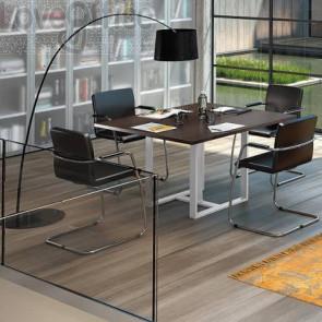 Tavolo riunione meeting LineKit Swing Twist 120x120xH.73 cm - piano wengé - struttura bianco
