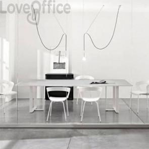 Tavolo riunione meeting LineKit Swing Twist 240x120xH.73 cm - piano grigio - struttura bianco