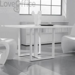 Tavolo riunione meeting LineKit Swing Twist 120x120xH.73 cm - piano bianco - struttura bianco