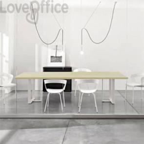 Tavolo riunione meeting LineKit Swing Twist 240x120xH.73 cm - piano acero - struttura bianco