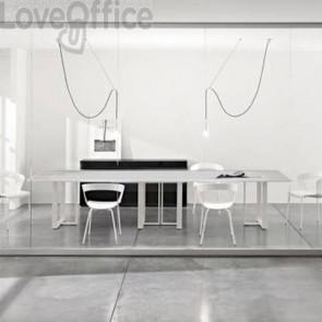 Tavolo riunione meeting LineKit Swing Twist 360x120xH.73 cm - piano grigio - struttura alluminio