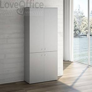 Mobile libreria LineKit - Mobile con 4 ante e 4 ripiani - trama grigio - 90x40,1x212,5 cm