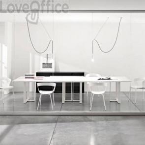 Tavolo riunione meeting LineKit Swing Twist 360x120xH.73 cm - piano bianco - struttura alluminio