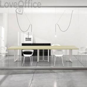 Tavolo riunione meeting LineKit Swing Twist 360x120xH.73 cm - piano acero - struttura bianco