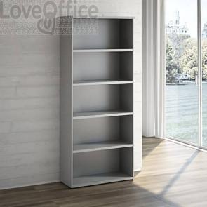 Libreria con 4 ripiani LineKit - Mobile a giorno - trama grigio - 90x40,1x212,5 cm