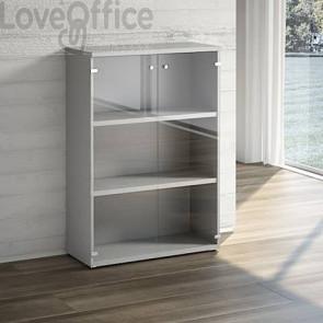Mobile libreria LineKit - Mobile con ante a vetro e 2 ripiani - trama grigio - 90x40,1x129,3 cm