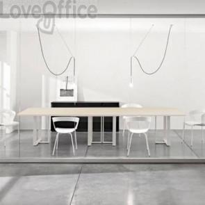 Tavolo riunione meeting LineKit Swing Twist 360x120xH.73 cm - piano rovere - struttura bianco