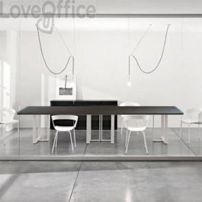 Tavolo riunione meeting LineKit Swing Twist 360x120xH.73 cm - piano wengé - struttura bianco