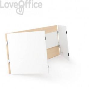 Scrivania pieghevole Witoffice LineKit - 150x70xH.73,5 cm piano rovere - struttura bianca