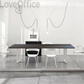 Tavolo riunione meeting LineKit Swing Twist 240x120xH.73 cm - piano wengé - struttura bianco
