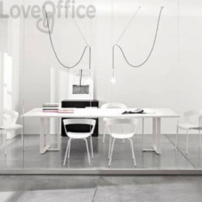 Tavolo riunione meeting LineKit Swing Twist 240x120xH.73 cm - piano bianco - struttura alluminio