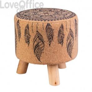 Pouf marrone 30x30 cm gambe di legno plume