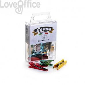 Mini-mollette colorate metallizzate Leone 37x9x6 mm colori assortiti in scatola appendibile da 10 pezzi - APM