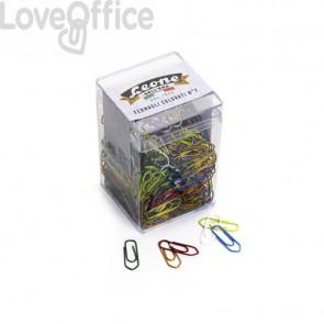 Fermagli colorati metallizzati Leone N° 2 - 26 mm in barattolo da 500 pezzi - assortiti FX50