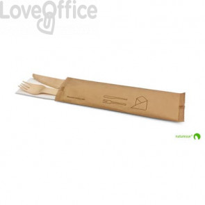 Set posate in legno monouso Scatolificio del Garda forchetta-coltello-tovagliolo avana - Conf. 250 pezzi - 20381