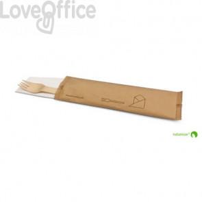 Set posate in legno monouso Scatolificio del Garda forchetta-tovagliolo avana - Conf. 250 pezzi - 20383
