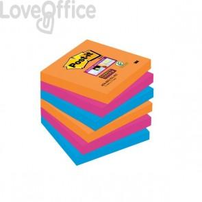 Post-it® Super Sticky colori Bangkok - 76x76 mm - fluo: arancio, rosa, azzurro - 654-6SS-EG (conf.6)