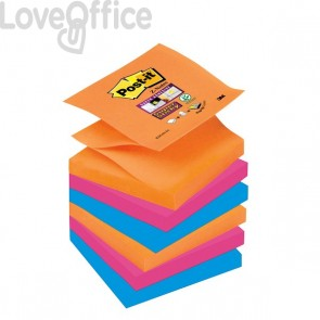 Ricariche Post-it® Z-Notes Super Sticky Post-It  Bangkok - 76x76 mm - assortiti (conf.6)