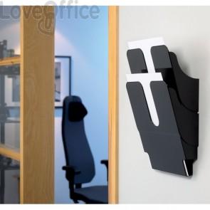 Portadepliant da parete Flexiplus Durable - 2 scomparti - A4 - 24,7x10x36 cm - nero - 1709008060