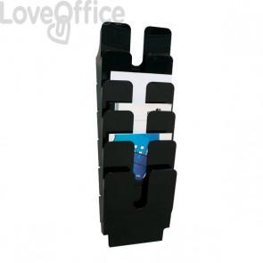 Portadepliant da parete Flexiplus Durable - 6 scomparti - A4 - 24,7x10x74,5 cm - nero - 1700008061