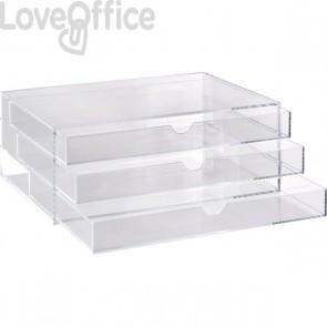 Cassettiera in acrilico a 3 cassetti Tecnostyl - trasparente - ACRD040