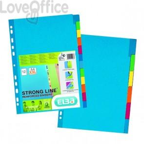 Divisori rinforzati in cartoncino per raccoglitori A4+ - Elba - 12 tasti colorati