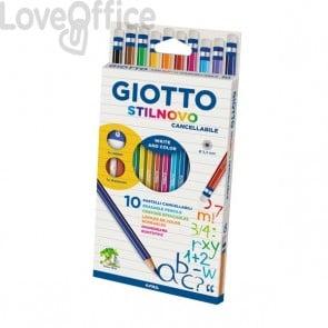 Giotto Stilnovo cancellabile - assortiti - 256800 (conf.10 + maxigomma e temperino)