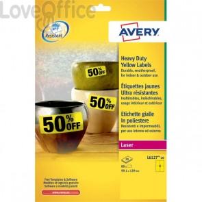 Etichette in poliestere Avery - laser - gialle - 99,1x139 cm (conf. 80 etichette)