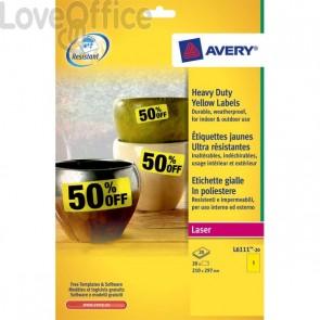 Etichette in poliestere Avery - laser - gialle - 210x297 cm (20)