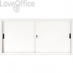 Armadio archivio in metallo bianco a porte scorrevoli - 615S Tecnical 2 - 2 ripiani - 150x45x85 cm