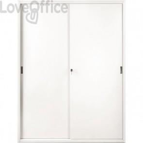Armadio archivio in metallo bianco a porte scorrevoli - 615 Tecnical 2 - 4 ripiani - 150x45x200 cm