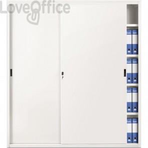 Armadio archivio in metallo bianco a porte scorrevoli - 618 Tecnical 2 - 4 ripiani - 180x45x200 cm