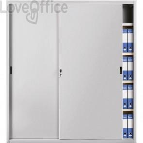Armadio archivio in metallo grigio a porte scorrevoli - 618 Tecnical 2 - 4 ripiani - 180x45x200 cm