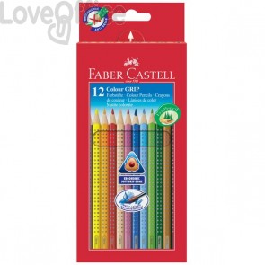 Faber Castell matite colorate acquerellabili triangolari Colour Grip - Astuccio Cartone (Conf.12)