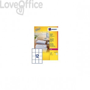 Etichette bianche QuickPeel™ x indirizzi,ecologiche,FSC Avery - 63,5x72 mm - L7164-100 (conf.100)