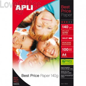 Carta fotografica A4 per stampanti inkjet Glossy Decadry - 140 g (conf.100)