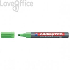 Pennarello per lavagna neon verde - Edding 725 fluo - scalpello - 2-5 mm