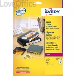 Etichette per supporti multimediali Avery - 46x11,1 mm - 84 et/ff - L7656-25 (conf.25)