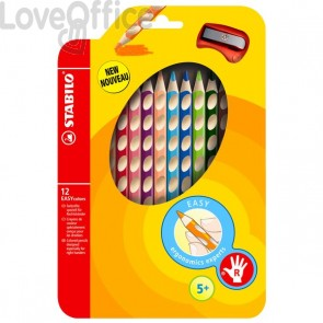 Matite colorate EASYcolors Stabilo - destrorsi - 4,2 mm - da 5 anni (conf.12)