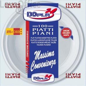 Piatti piani linea plastica DOpla - bianco - Ø 20,5 cm - 01234 (conf.100)