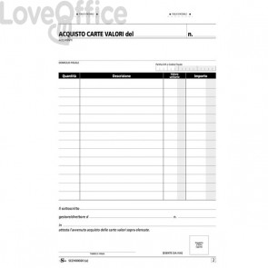 Blocco acquisto valori bollati Semper Multiservice - Carta chimica 2 parti - 148x215 mm - SEZH00020