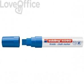 Pennarello per lavagna blu Edding 4090 - A Gesso Liquido - Scalpello - 4-15 mm